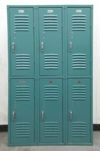 Used Double Stacked Metal Lockers 36 wide X 12 deep X 60 high 6 Lockers A Set