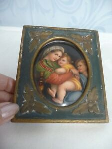Antique Hand Painted Porcelain Mother Children In Antique Wood Frame