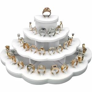 Rings White Ring Display Stand Organizer Holder Holds Jewelry Closet Bathroom