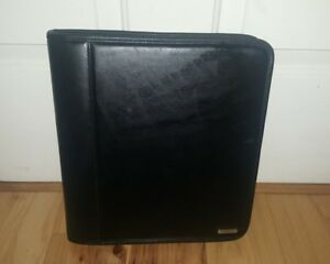 Franklin Covey Large Leather Binder Planner Organizer Black Zip Up 7 Rings Slots