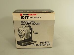 Vintage Hunt Boston 1017 Vacuum Mount Pencil Sharpener Dark Walnut Woodtone Usa