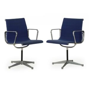 Pair Of Swivel Chairs Ea108 By Charles Ray Eames For Herman Miller Circa 1960