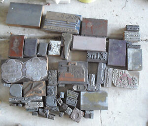 Big Lot Of Vintage Wood Letterpress Print Blocks Advertising Images And More