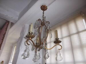 French Chandelier 3 Candle Holders Metal Gold And Brass Crystals Vintage