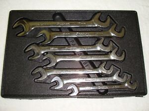 Snap On Metric 4 Way Angle Open End Wrench 7pc Set 10mm 15mm 17mm Vsm807b