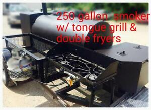 250 Gal Smoker Bbq Grill On Trailer