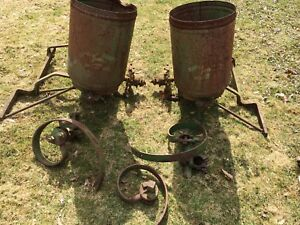 Reduced Antique John Deere 2 Row Seed Planter And Accessories