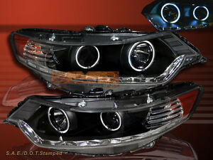 2009 2012 Acura Tsx Jdm Blk Ccfl Halo R8 Style Led Projector Headlights Lamps