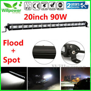 20inch 90w Spot Flood Combo Slim Led Work Light Bar Single Row Car Suv Off Road