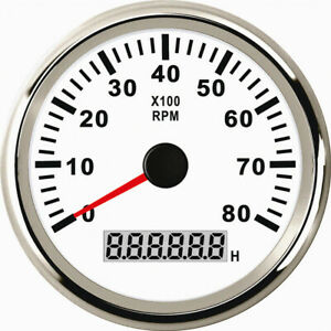 1pc Blue Backlight Tachometer Gauges 0 8000rpm Lcd Rev Counters With Hour Meter