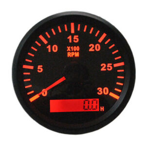 Marine 0 3000rpm Tachometer Revolution Meter 85mm With Hourmeter For Auto Boat