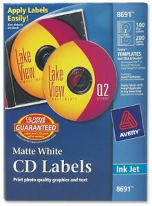 Avery r Matte White Cd Labels For Inkjet Printers 8691 100 Face Labels And