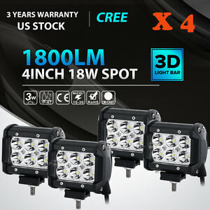 4 X 18w Led Light Bar Driving Lights Fog Light Work Light Spot Light Offroad Suv