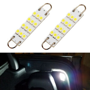 2 X White 44mm Rigid Loop 561 562 Led Interior Map Dome Door Trunk Light Bulbs