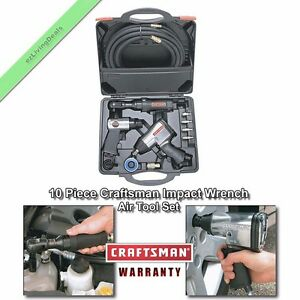 Impact Wrench Air Tool Set Craftsman 10 Pc High Torque Ratchet Hammer Hose Kit