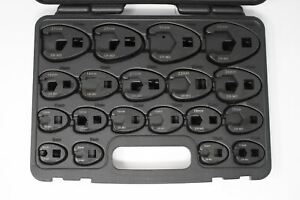A 6900a 19pc Metric Crowfoot Wrench Set 8 32mm 3 8 1 2 Sq Dr Large Crows Foot