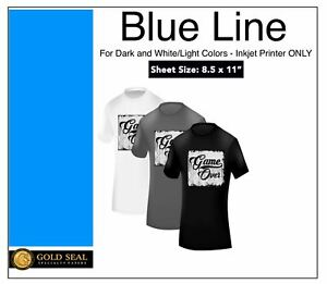 100 Sheets 8 5x11 Blue Line Dark Iron On Heat Transfer Paper For Inkjet