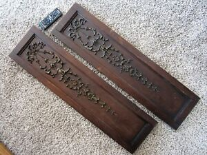 Pair Primitive Victorian Bow Library Panels Shabby Ornate Walnut Gilt Carving