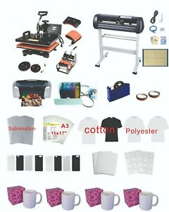 Plotter 15 x15 5in1 Pro Sublimation Heat Press Epson C88 Ciss Material Kit