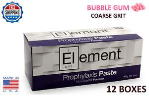 Element Prophy Paste Cups Bubble Gum Coarse 200 box Dental W flouride 12 Boxes