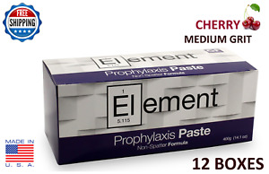 Element Prophy Paste Cups Cherry Medium 200 box Dental W flouride 12 Boxes