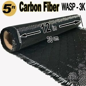 12 X 5 Ft Wasp Carbon Fiber Fabric 3k Tow 220g m2 Wasp Bee Hive Weave