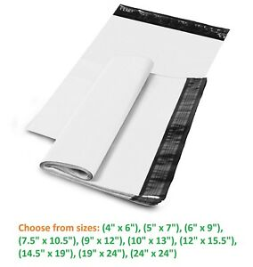 5 10 000 Shipping Envelopes Poly Mailers Plastic Mailing Bags White Self Sealing