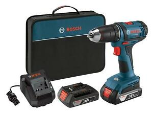 Bosch 18 volt Compact Tough Drill driver Kit Ddb181 02 With 2 Lithium Ion