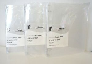 Set Of 3 Clear Grid 1 1 2 Inch Binders Three Ring Binder Office Supplies Z0 in