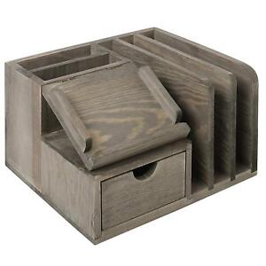 Rustic Gray Wood Desktop Office Organizer Sticky Note Pad Holder Mail Sorter