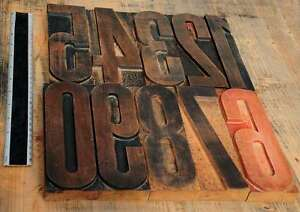 Giant Numbers 0 9 Rare 7 09 Letterpress Wooden Type Woodtype Wood Number