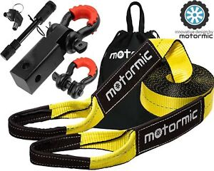 Motormic Tow Strap Recovery Kit 30 Ft X 3 30 000 Lbs Rope 2 Shackle