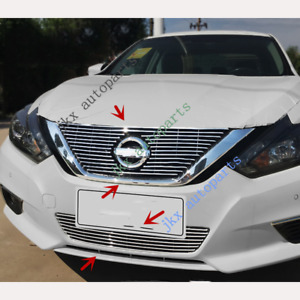 Chrome New Front Bumper Upper lower Grille Grill J Fit For Nissan Altima 2016 18
