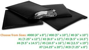Poly Bubble Mailers 000 00 0 1 2 3 4 5 6 7 Padded Envelopes Black