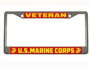 Veteran U S Marine Corps Metal Auto License Plate Frame Car Tag Holder