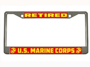 Retired U S Marine Corps Metal Auto License Plate Frame Car Tag Holder