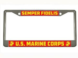 Semper Fidelis Us Marine Corps Metal Auto License Plate Frame Car Tag Holder