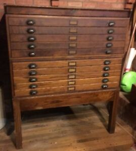 Hamilton Chest Of Flat File Drawers With Matching Stand And Top All Oak