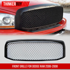 Grille For Dodge Ram 1500 Mesh Sport Front Hood Abs Glossy Black 2006 2007 2008