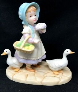 Vintage Rare Porcelain Bisque French Country Girl Figurine By Carol Bryan