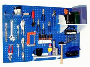 Garage Wall Storage Metal Pegboard Tool Organizer Kit 32 In X 48 In Blue