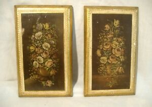 Florentine Gilt Tole Plaques Pair Lot Of 2 Vintage Italian Floral Prints On Wood