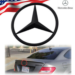 Mercedes Benz Star Matte Black Trunk Rear Emblem W204 Badges Modified Decoratio
