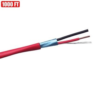 1000ft Shielded Solid Fire Alarm Cable 18 2 Copper Wire 18awg Fplr Cl3r Ft4 Red