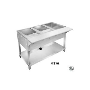 3 Well All Stainless Steel Natural Gas Steam Table