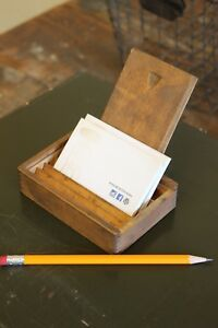 Vintage Antique Jewelry Wooden Box Sliding Lid Dovetailed Business Card Holder