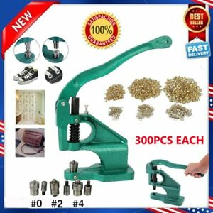Grommet Eyelet Hole Punch Machine Hand Press 3 Dies With 900pcs Grommets Kit Us