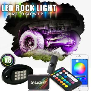 Bluetooth 8 neon Led Rock Lights Kit Full Color Underglow Offroad Car Truck Boat