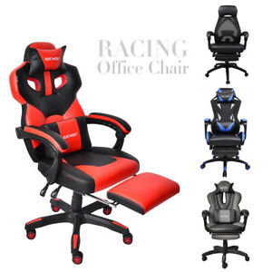 Office Gaming Chair Racing High Back Leather Computer Desk Seat Recline Footrest