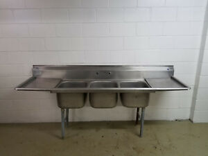 Eagle 90 Stainless Steel 3 Compartment Sink 90 X 26 X 43 Backsplash